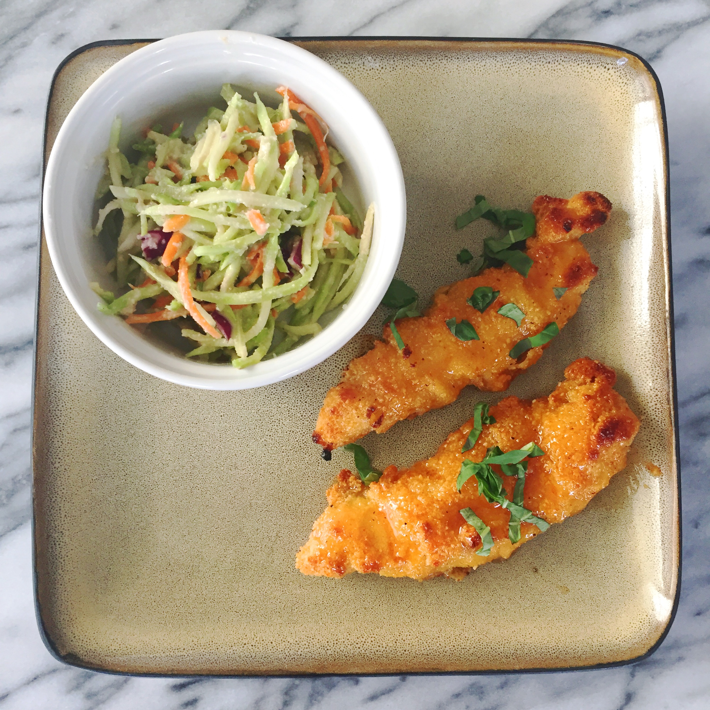 paleo sweet and spicy chicken with dairy free coleslaw