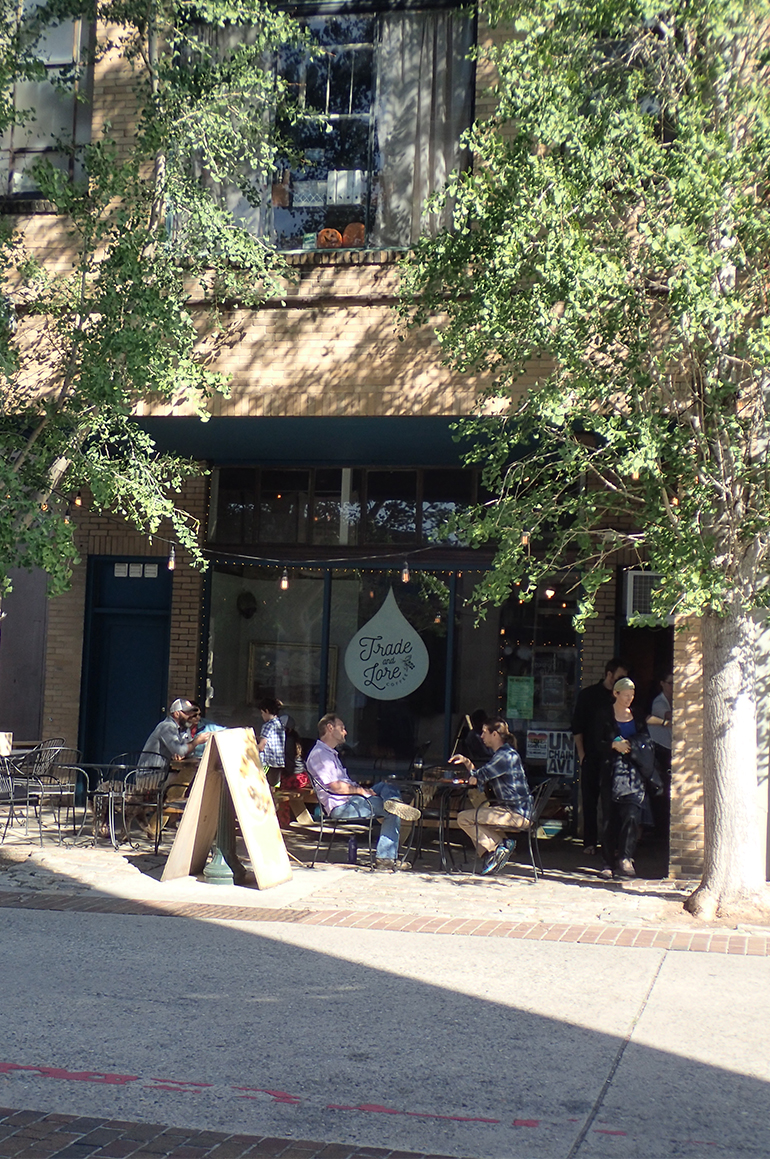 outdoor seating at Trade and Lore Coffee Asheville NC