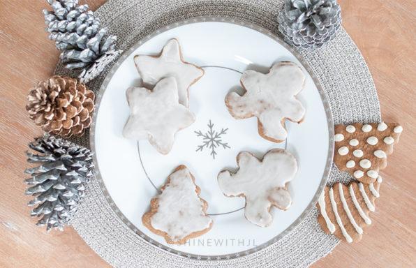 gluten free gingerbread cookies on snowflake plate