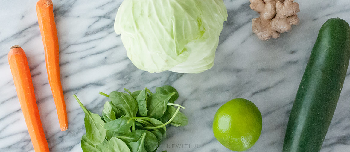 vegetables on marble countertop