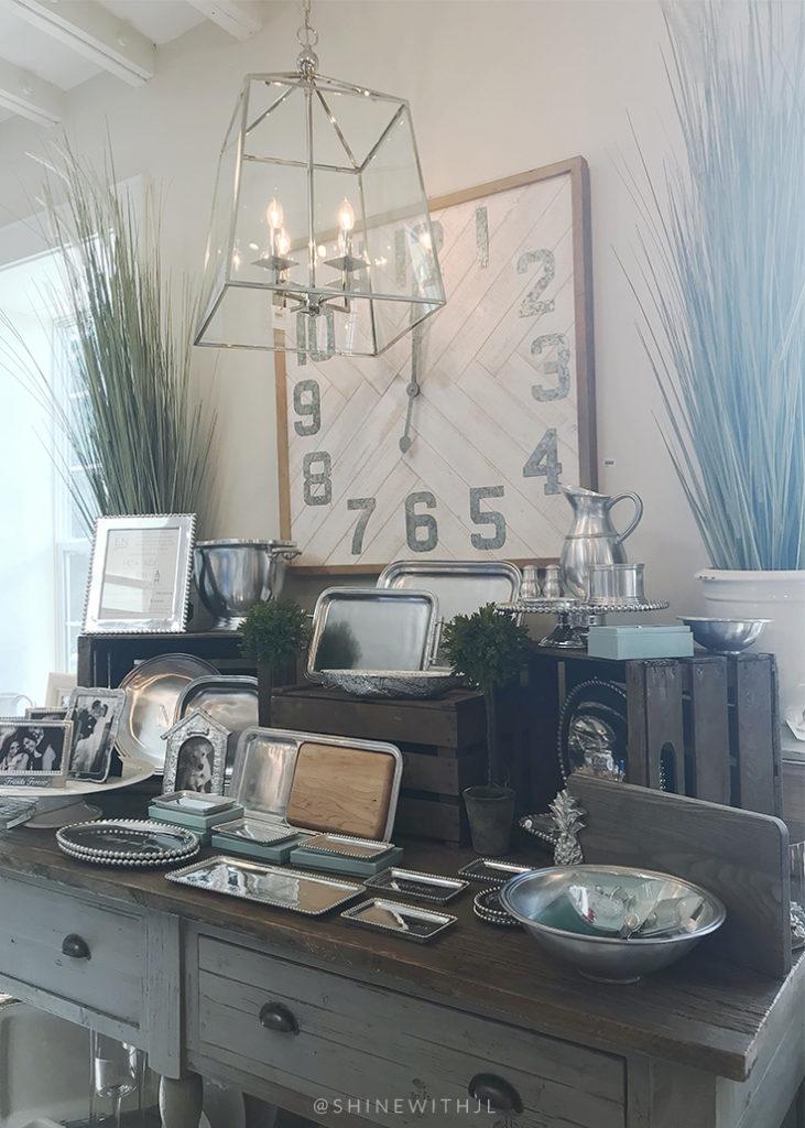 chrome lantern pendant white washed wood wall clock