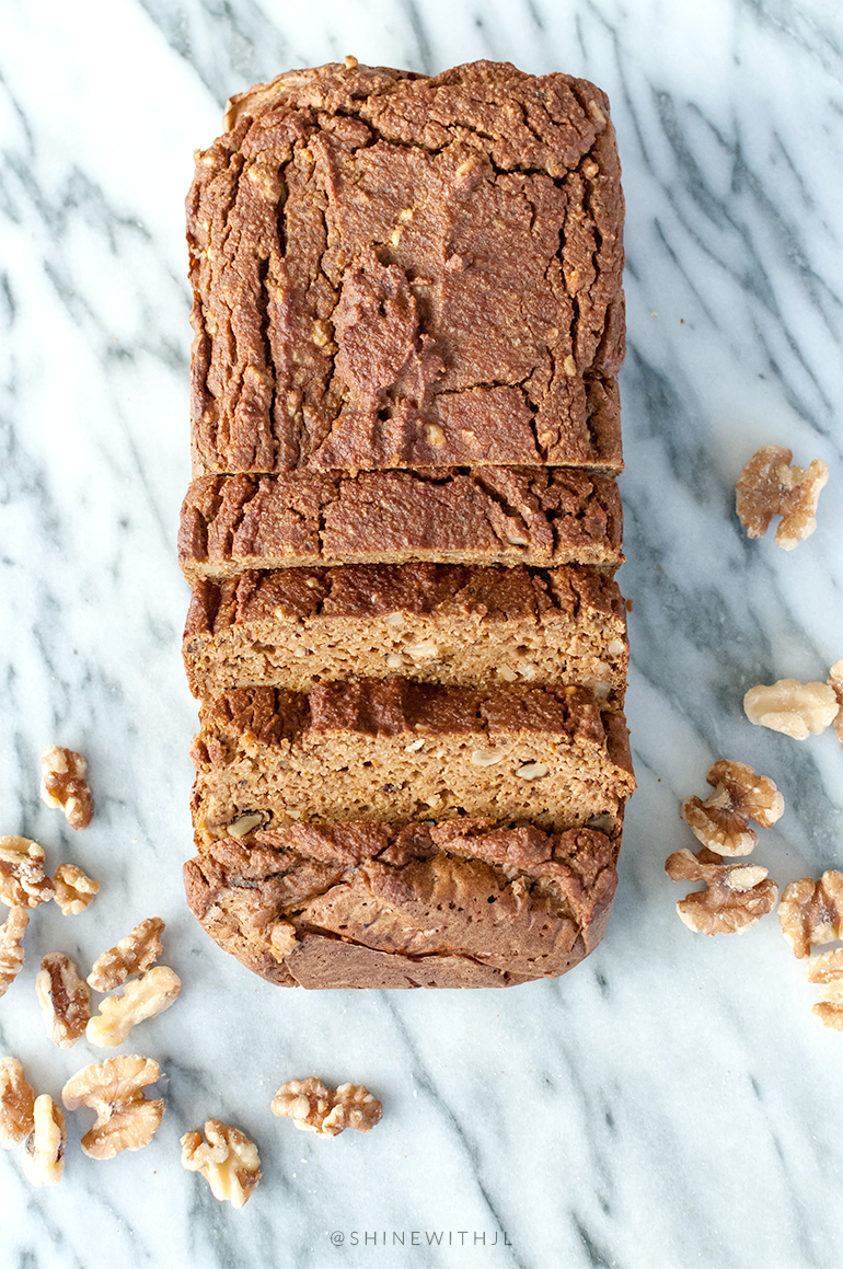 pumpkin bread loaf with walnuts shinewithjl