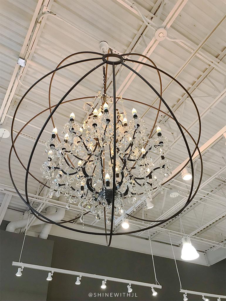 restoration hardware chandelier and white ceiling