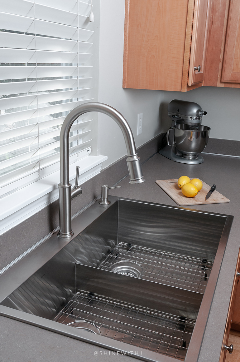luxury stainless steel double sink with wire rack set and high arc faucet