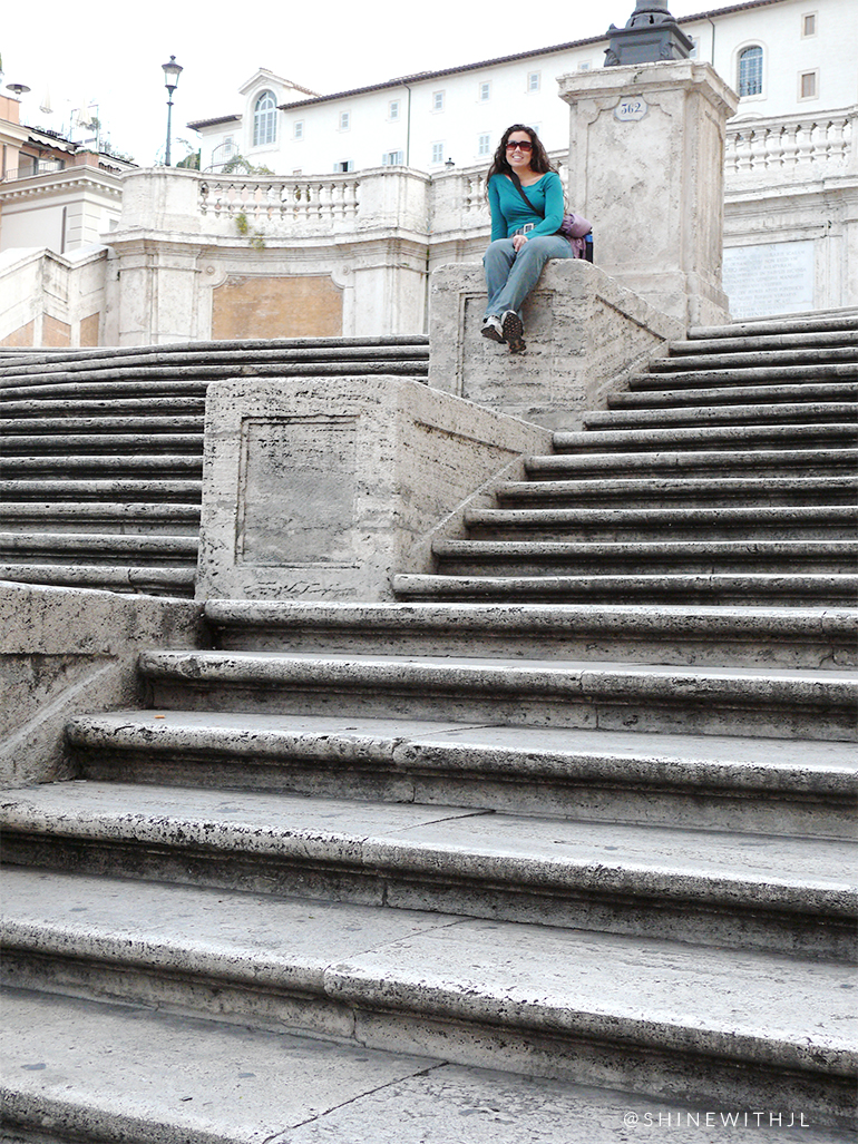 tourist on the spanish steps in rome italy