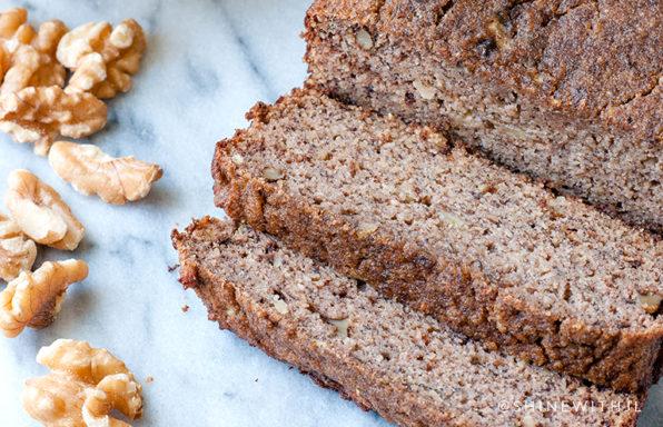 gluten free banana bread with walnuts