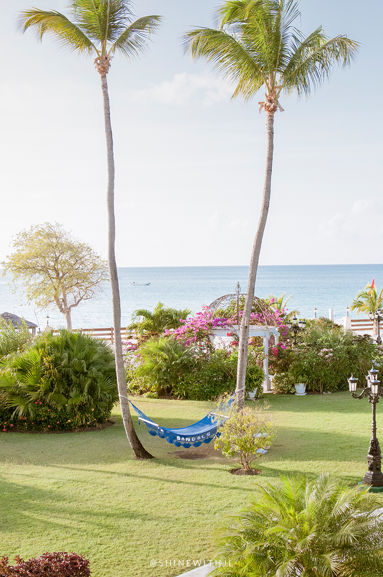 Sandals Antigua hammock between two palms