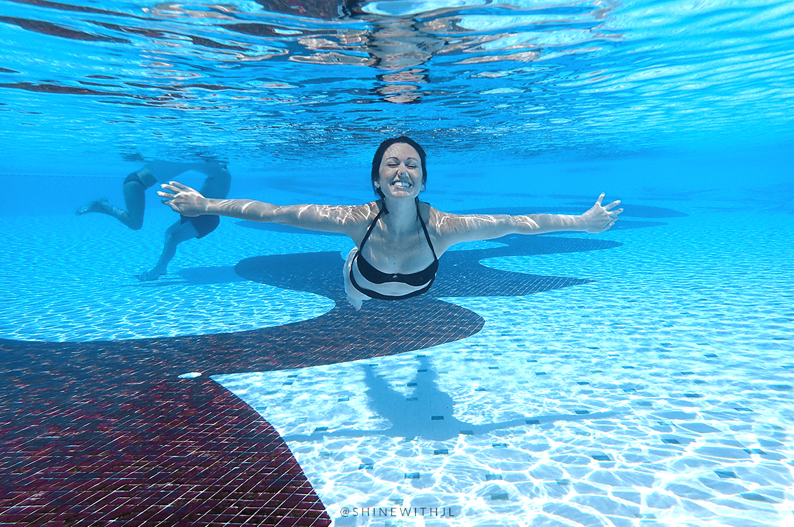 underwater pool swimming portraits sandals antigua