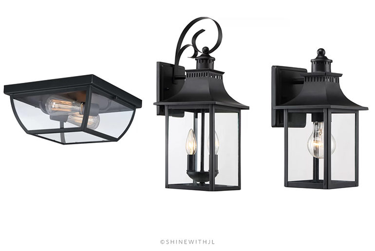 black outdoor wall lanterns and flush mount ceiling light