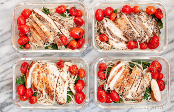 garlic parmesan kale pasta chicken cherry tomatoes meal prep