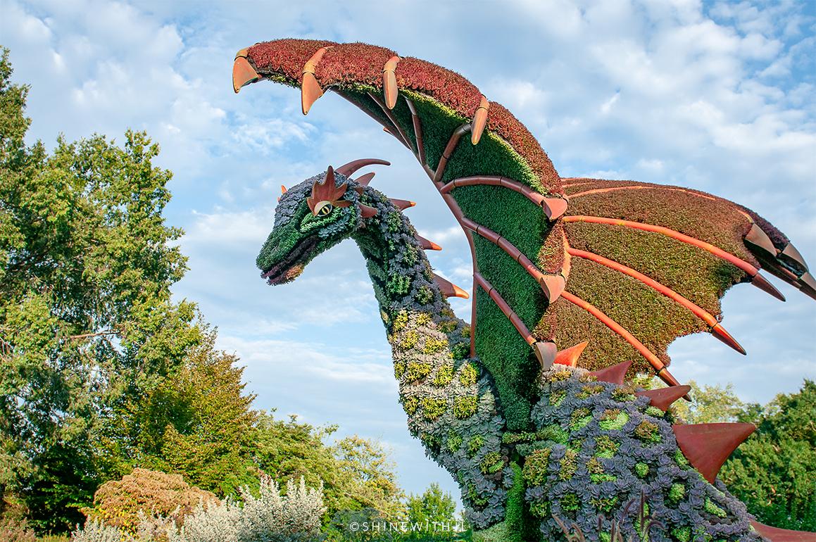 dragon sculpture mosaiculture atlanta botanical gardens