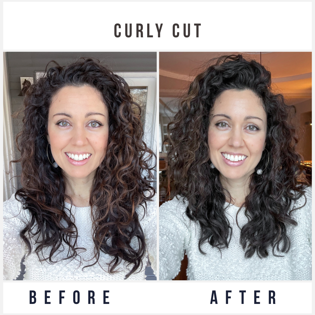Before and After Curly Hair Cut with Layers