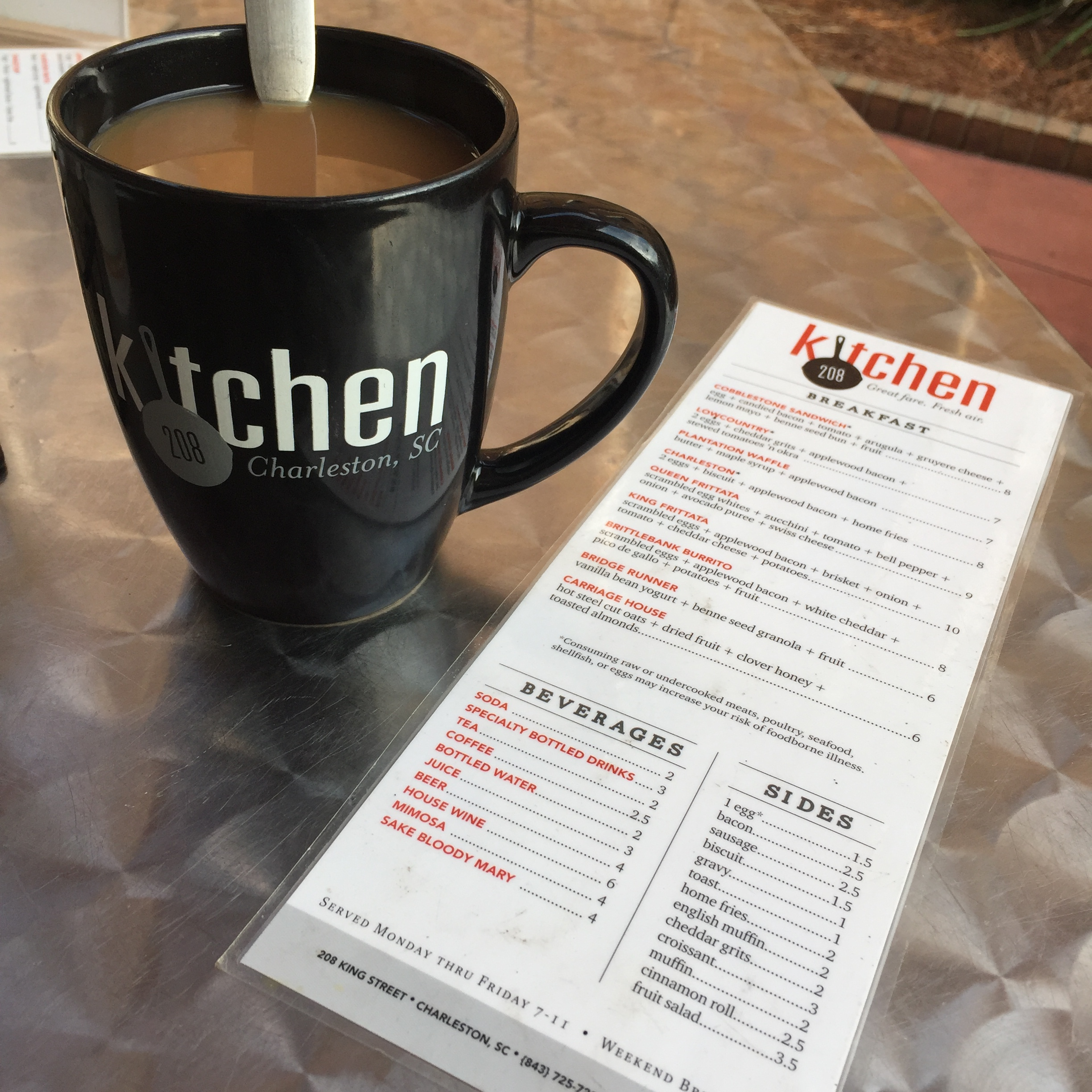 Kitchen 208 Charleston Menu and Cup of Coffee ShinewithJL