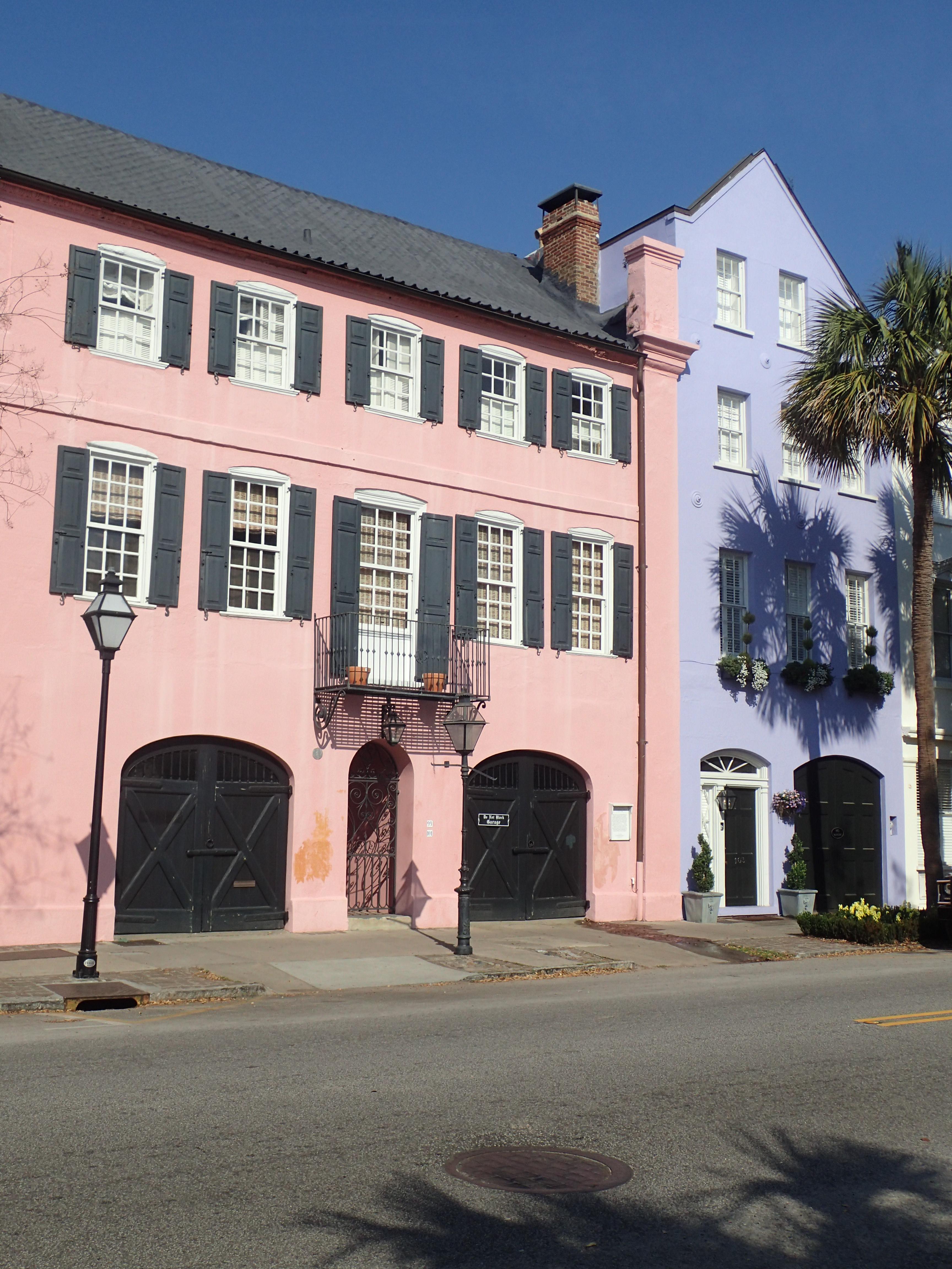 Pink and Purple Rainbow Row Charleston Houses E Bay Street