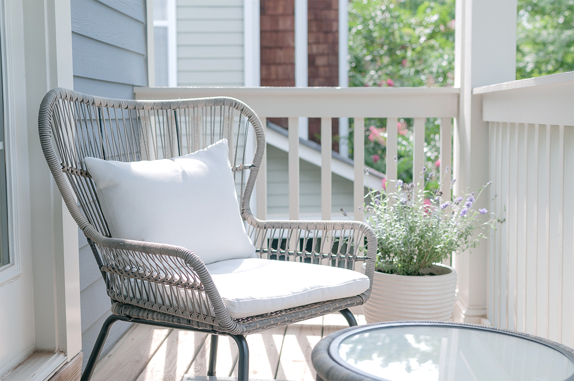 how to decorate small balcony minimalist style grey rattan chair