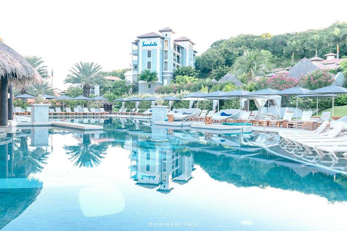 south seas village pool sandals grenada water reflections