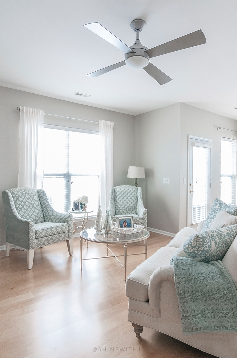shabby cottage chic living room design silver ceiling fan