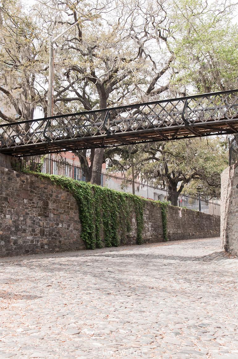 cobblestone streets and bridge savannah riverfront