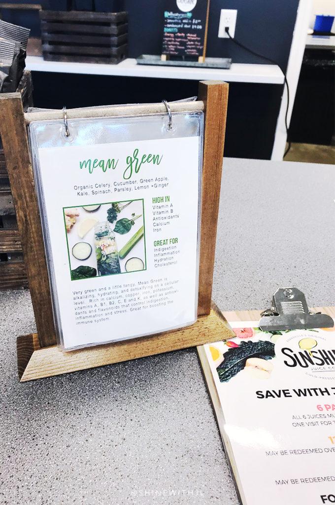 mean green juice menu ingredients sunshine juice co gluten free travel