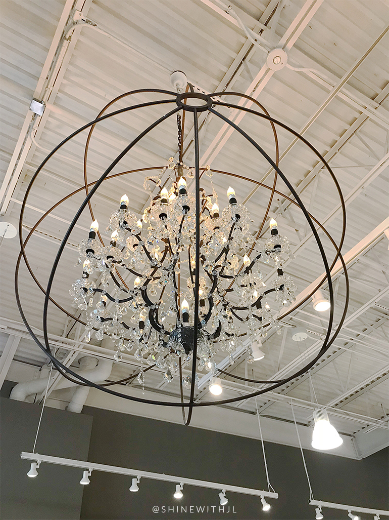 restoration hardware chandelier and white ceiling