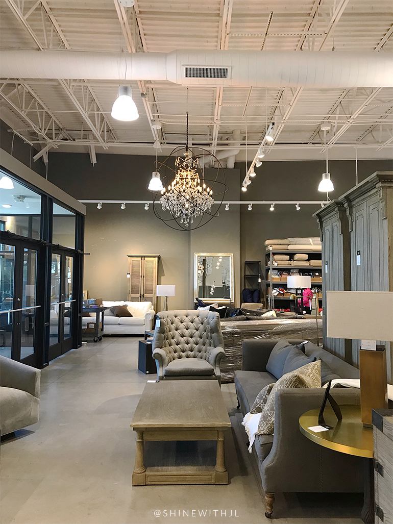 restoration hardware chandelier and tufted grey chair asheville nc
