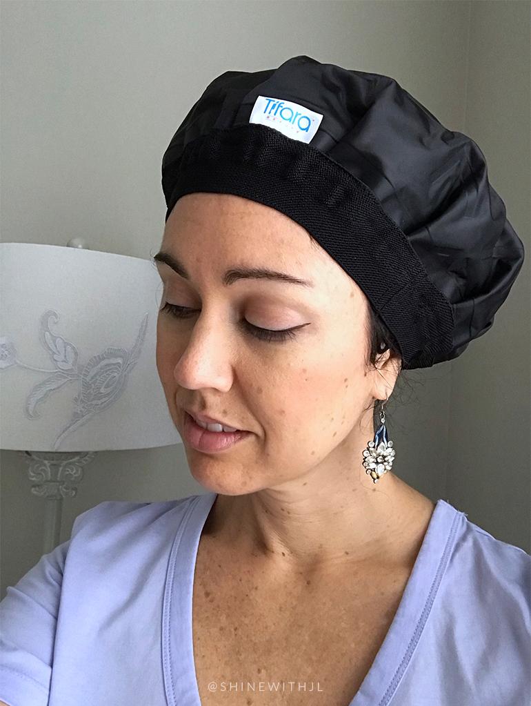 woman wearing tifara beauty heat cap