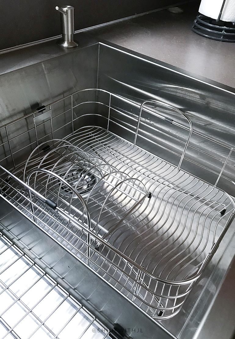 elkay stainless steel rinsing basket in Kraus sink