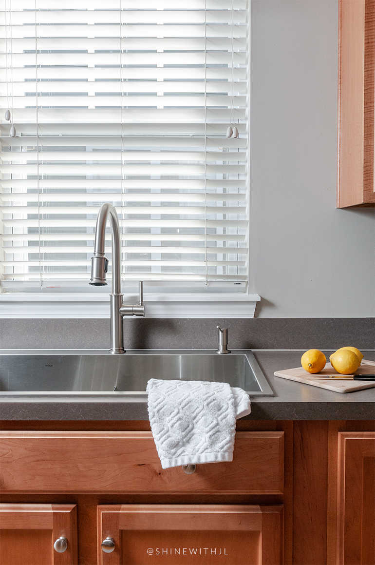 lemons on countertop stainless steel kitchen sink high arc faucet
