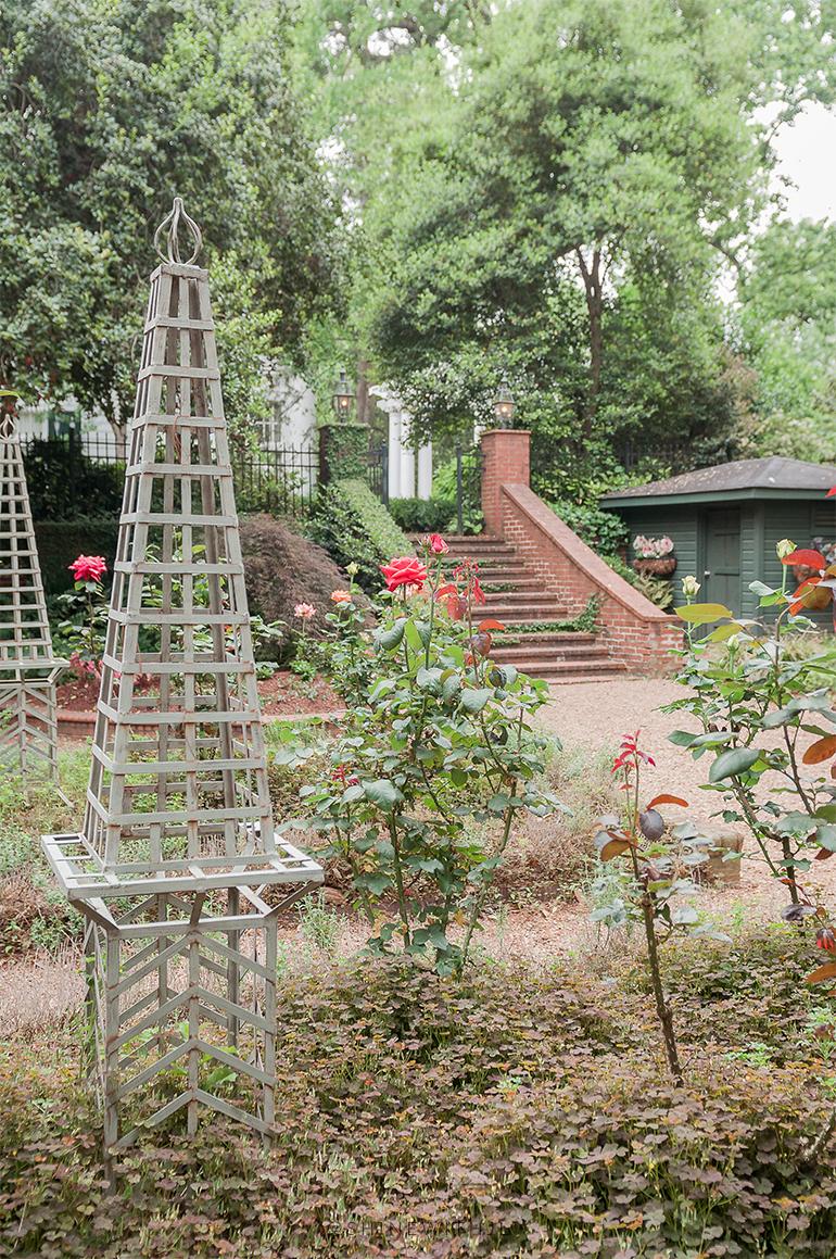brick staircase into rose garden