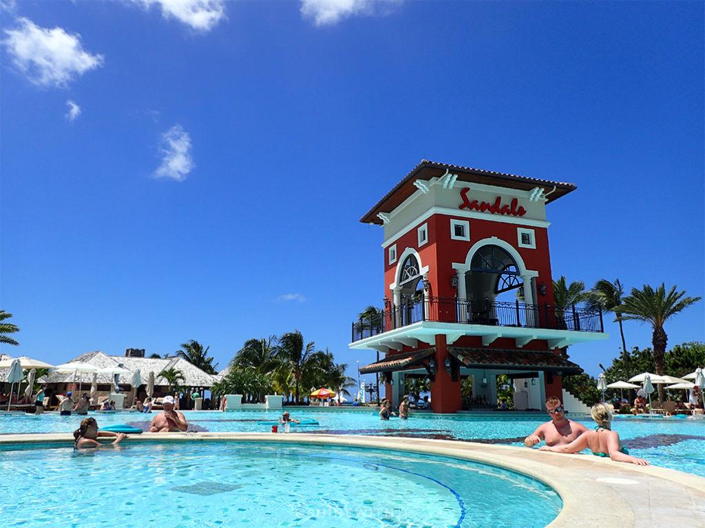 large pool and hot tub sandals antigua