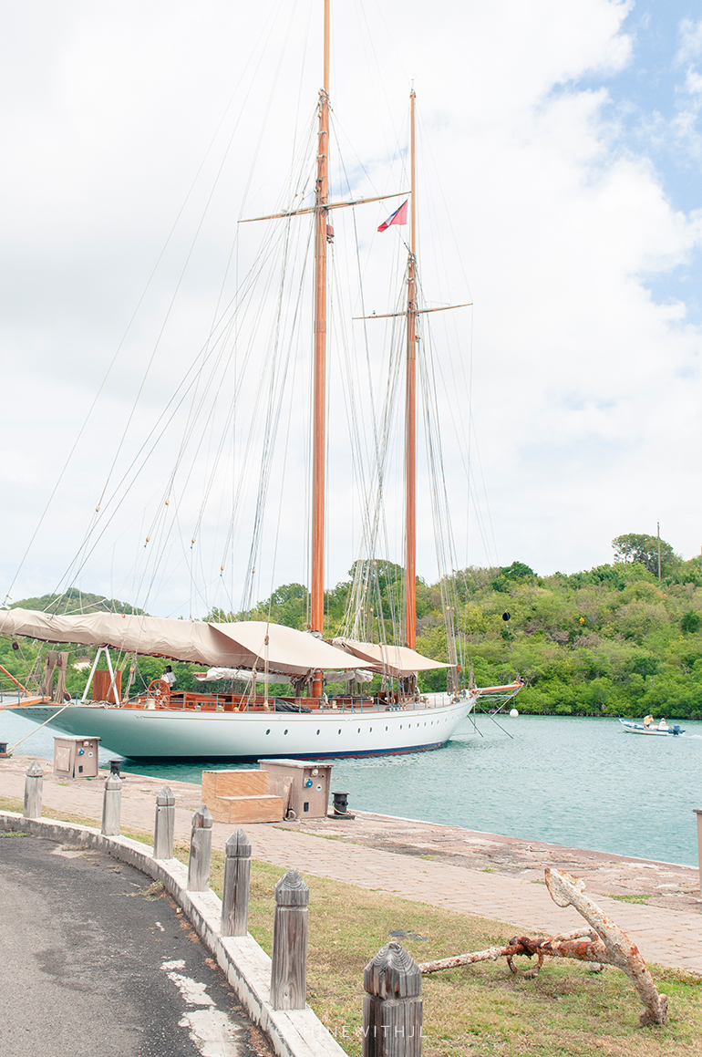docked sailboat at nelsons dockyard antigua