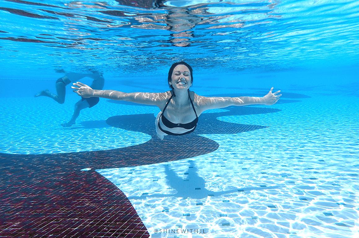 underwater pool swimming portraits sandals antigua