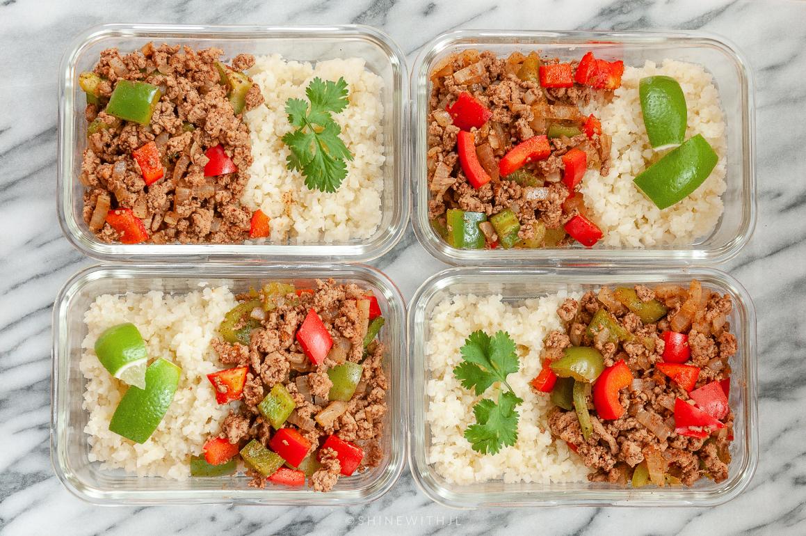 meal prep ideas ground turkey fajita bowl with cauliflower rice