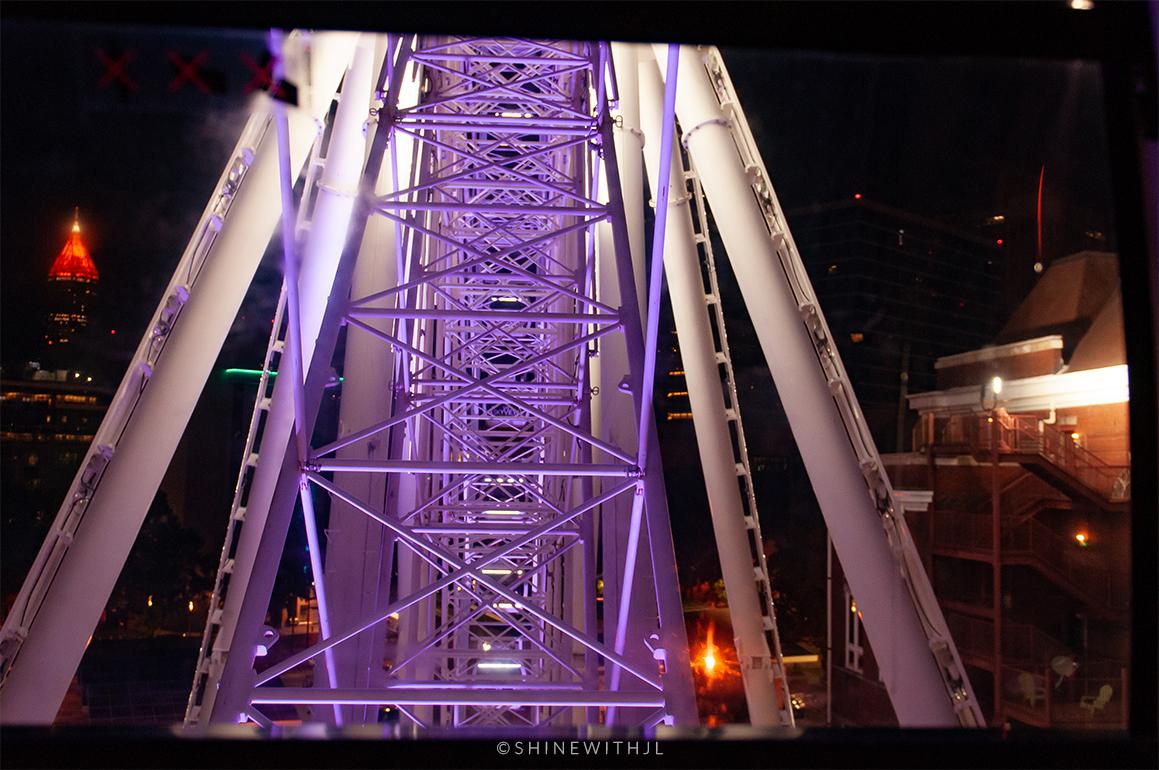 in the ferris wheel at night skyview atlanta