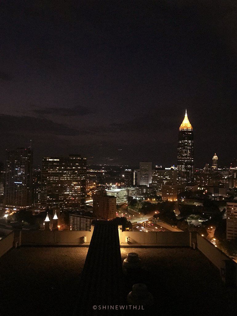 view at night from top floor lounge hilton atlanta