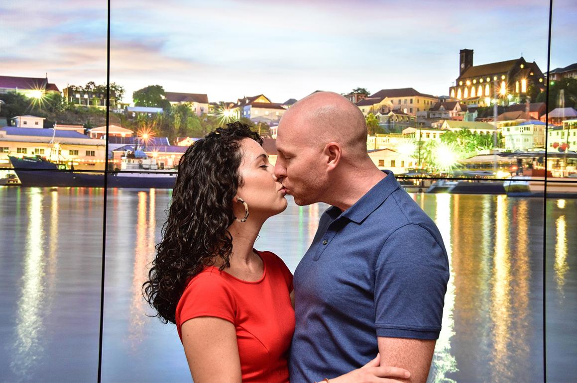couple kissing at Sandals Grenada resort