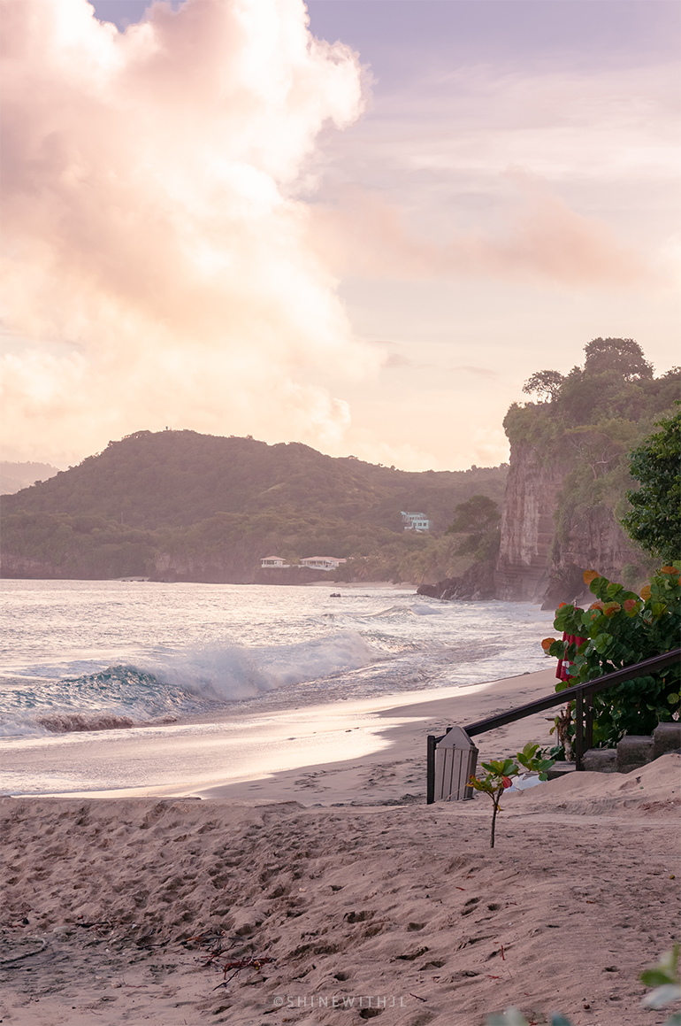 sunrise on pink gin beach grenada by shinewithjl